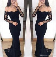 Dentelle noire Mermaid Pal Robes à manches longues à épaule Applique Train de balayage Formel Formal Gestion de soirée Porter Ogstuff Vestidos