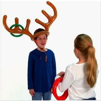 Надувной Санта Прикольная Олени Antler Hat Ring Toss Рождественский праздник партия игры Supplies игрушки Рождественский подарок для детей