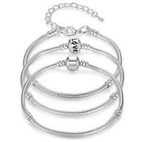 Nova 925 Sterling Silver Snake Cadeia Pulseiras Fit Charme Europeu Bead Bangle Bracelet Para Homens Mulheres Presente Da Jóia em Massa