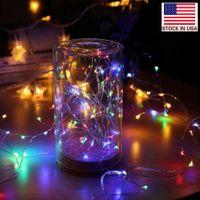 LED-Saiten 2m Kupfer Silber Lichter Batterie Fee Licht Für Weihnachten Halloween Home Party Hochzeit Dekoration Bestand in den USA