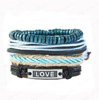 Men's Bracelet 100% genuine leather bracelet love Beading Hemp rope simple and easy adjustable bracelet 4 styles 1 set