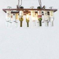 الرجعية دور علوي المعلقة زجاجة النبيذ أدى حديد السقف مصابيح قلادة E27 LED أضواء قلادة للعيش بار غرفة مطعم مطبخ المنزل