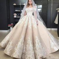 Princesse Puffy robe de bal Champagne robes de mariée de l'épaule Applique 2019 Encolure pleine longueur Eglise Jardin Robe de mariée