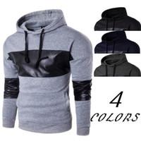 Erkek Yeni Geliş Kapşonlu Sweatshirt Kapüşonlular Slim Fit Hip Hop Erkek Deri Patchwork Kapşonlu Streetwear Tops