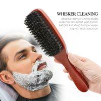 100% чистая кабана щетина древесина борода кисть с ручкой мужская бритья усы гребня парикмахерские дразнить щетки