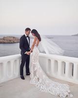 Matrimonio Incredibile Backless sexy Mermaid Beach abiti da sposa V-Neck Lace 3D di Applique tromba Steven Khalil Garden Abiti da sposa Personalizza