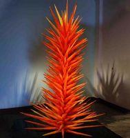도매 손 램프 나무 바닥 램프 오렌지 무라노 날개 유리 침엽수 유리 침엽수 조각 파티 가든 아트 장식