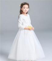 مخصص جودة عالية الأبيض الأميرة فساتين بنات الرباط الأحمر فساتين الزفاف زهرة فتاة تنورة وفساتين بأكمام طويلة على الكرة