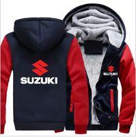 남성용 후드 스웨터 스즈 셔츠 워시 오토바이 스즈키 재킷 겨울 남성 풀오버 남자 코트 캐주얼 양모 라이너 양털