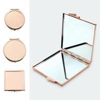 Maquillaje caliente portátil Herramientas del espejo del espejo cosmético del bolsillo espejo compacto plegable lados dobles de bolsillo mini muchacha de la belleza