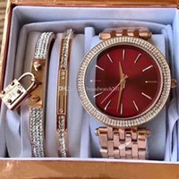 wholesale fashion rose gold woman diamond watches MK3366 bra...