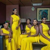 2019 Sarı Mermaid Nedime Elbiseler Bir Omuz Kat Uzunluk Saten Hizmetçi Onur Elbise Düğün Konuk Elbise