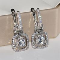 Venda Hot jóias de luxo Sparkling 925 Sterling Silver Redonda Cut branco Topaz CZ diamante Gemas Meninas Mulheres nupcial Brinco clipe para o amante