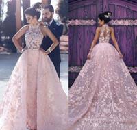 2019 Arabisch Dubai Rosa Abendkleid High Neck Illusion Appliques Spitze Celebrity Formale Urlaub Kleidung Prom Party Kleid Maßgeschneiderte Plus Größe