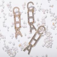도매 - 패션 명품 디자이너 라인 석 크리스탈 다이아몬드 편지 CHA 긴 여성을위한 매달려 샹들리에 스터드 귀걸이 드롭 과장