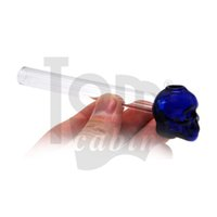 Skull Shape Glass Smoking Handle Pipe 126MM Mini Glass Oil Burner Pipes Smoking Pipe Glass Tobacco Water Pipe Oil Rig Bong Dabber Tool