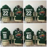 Minnesota Mens 'Jerseys Wild # 22 Nino Niederreiter # 11 Zach Parise # 40 Devan Dubnyk Hoodie Sweater Hóquei Jersey Frete Grátis