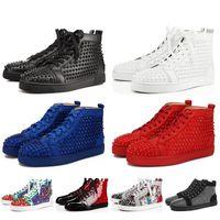 2019 Novo Designer Red Bottoms Sapatos Casuais Spikes Roller Boat Mens Mulheres Camurça Spike Sapatos De Cristal De Couro Esporte Tênis de Plataforma