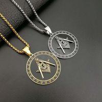 316 Acciaio inossidabile Freemason Masonic Silver Gold Black Black Round A Forma di Associazione Fraternica Fraternity Mason Collana Collana Pendente