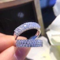 Die Frauen 18 K Weissgold Sieben-Diamant-Reihe Diamant-Ring