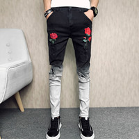 Jeans Denim Pantalons trou Ripped Fleur Broderie Hip Hop Pantalons simple Slim Fit Deux Tons Hommes Pantalons Mode