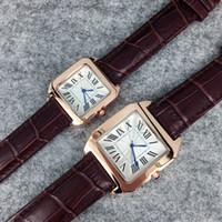 2019 popula Estilo de moda Hombre / Mujer Reloj de cuero negro / marrón Reloj de señora Cadena de pulsera de acero Reloj de cuarzo de lujo de alta calidad envío gratis