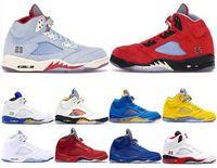 الكأس غرفة 5S الثلج الأزرق الرجال أحذية كرة السلة 5 لاني ولدت الأصفر الأحمر الجلد المدبوغ للأسمنت الأبيض أسود لامع مصمم الرياضة رياضة حجم 41-47