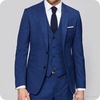 Newest Peaked Lapel Formal Business Blue Men Suits for Wedding Tuxedo Groom Wear Blazer 3Piece Vest Coat Pants Custom Made Groomsmen Suit