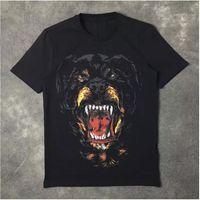 Camisetas para hombre Moda Rottweiler Impresión de perro de alta calidad O-cuello negro camiseta camisetas para hombres mujeres algodón 1
