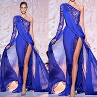 화려한 댄스 파티 드레스 한 어깨 긴 소매 로얄 블루 하이 사이드 분할 장관 파티 이브닝 드레스 파티 복장