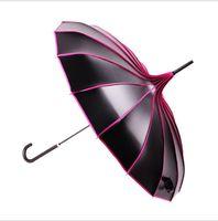Ombrello Anti UV Lungo Manico Vintage Parasole Parasole Impermeabile Asta Diritta Ombrello Pioggia Foto Puntelli Donne Ombrelli da Sposa 4 Colori