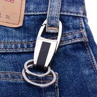 تعزيز هدية الإبداعية خواتم مزدوجة الرجال المعادن شعار مخصصة المحمولة مفتاح سلسلة حلقات مزدوجة أبدا الصدأ أقراط السيارة DH0848 t03