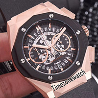 New Classic Fusion Two Tone Rose Gold Black Bezel Skeleton D...