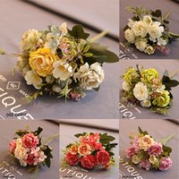 Mariage Christmas Simulation Real Silk Vintage Autumn Artificial Peony 1 Bunch Home Decor Flower Wedding Supply 8 Heads