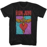Official Bon Jovi T- Shirt Mens Heart and Dagger Black Cotton...
