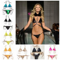 Sequins Halter Bandage Beach Swimsuit Hot Sell Bikini Set Wo...
