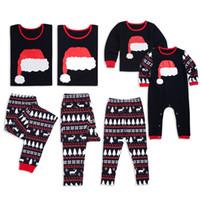 Natal Santa Cap Pijamas Família Família Roupas Diz Mom Bebê Elk Árvore Sleepwear Roupa de Correspondência Chapéu de Natal Chapéu HomeWear