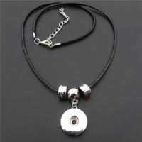 18mm Snap Buttons Socket Collar colgante con cuerda negra / cordón y plata CCB Beads para joyería de las mujeres 12 unidades / lote al por mayor