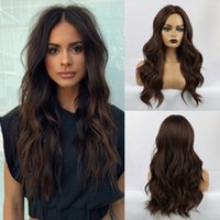 Wholesale Soft Natural Looking Dark Brown Long Body Wave Wig...