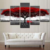 Modulaire Toile HD Impressions Affiches Décor À La Maison Mur Art Photos 5 Pièces Arbre Rouge Art Paysage Paysage Peintures Cadre No Frame