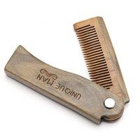 madera natural verde sandalia Doble Peine Peine de cabello para hombres Barba cuidado anti-estáticos de madera herramientas de cuidado del cabello peine cepillo de pelo 1pc