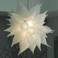 Moderne Pendelleuchten Kronleuchter Deckenreifen Matt-weißer LED-Kreis Pendellicht Dekorative Hand Geblasenes Glas Kronleuchter Leichte Fixtures