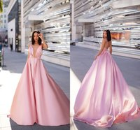 Sexy Pink A-line Prom Abendkleider Vintgae Spaghetti Backless Formale Party Kleid Günstige Plus Size Pageany Brautjungfernkleider BM0920