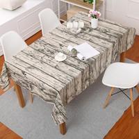 Tovaglia Legno Tovaglie legno stampato rettangolare Tovaglie multifunzione Tavolo da pranzo panno di cotone di lino della copertura del panno di arte 140x220 cm