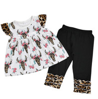 leopard cow FULL print baby clothes set boutique fly sleeve ...