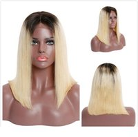 Straight Bob Wig 1B 613 Ombre Human Hair Short Pixie Lace Fr...