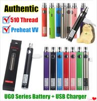 Autentico EVOD VV Twist io 510 batteria UGO-V II 2 Vape Pen UGO V3 tensione variabile preriscaldamento Batteria Kit Micro USB ecigs batteria Passthrough