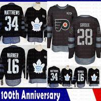2019 nouveau Maple Leafs de Toronto 34 Auston Matthews 16 Mitch Marner Hockey Jersey100th anniversaire Flyers de Philadelphie 28 Claude Giroux Jersey