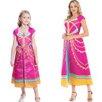 Vestido del traje de Cosplay de la princesa Jasmine Family madre y del vestido de los niños de la película Aladdin Etapa Superior de Halloween embroma el regalo para adultos