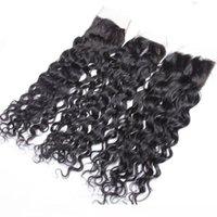 8 Шнурок Закрытие С 3 Связкой Бразильской волны воды завитой Девой человеческих волосами переплетения перуанских Индийской малазийской камбоджийским волосом Natural C